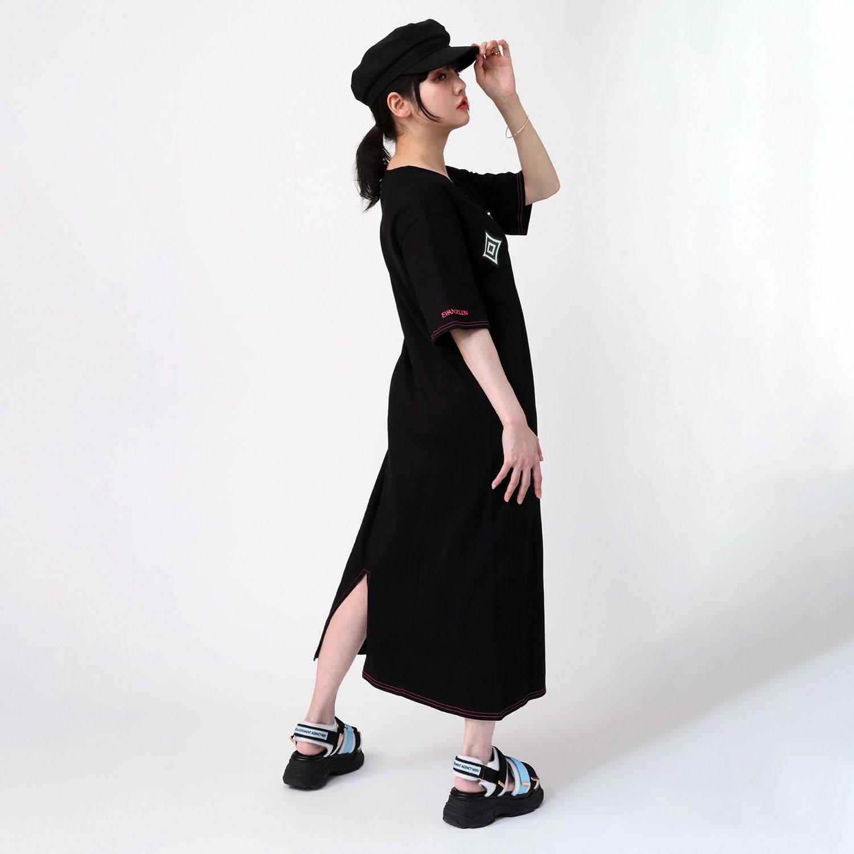 EVA Big Monogram Neon T-Shirt Dress (BLACK)