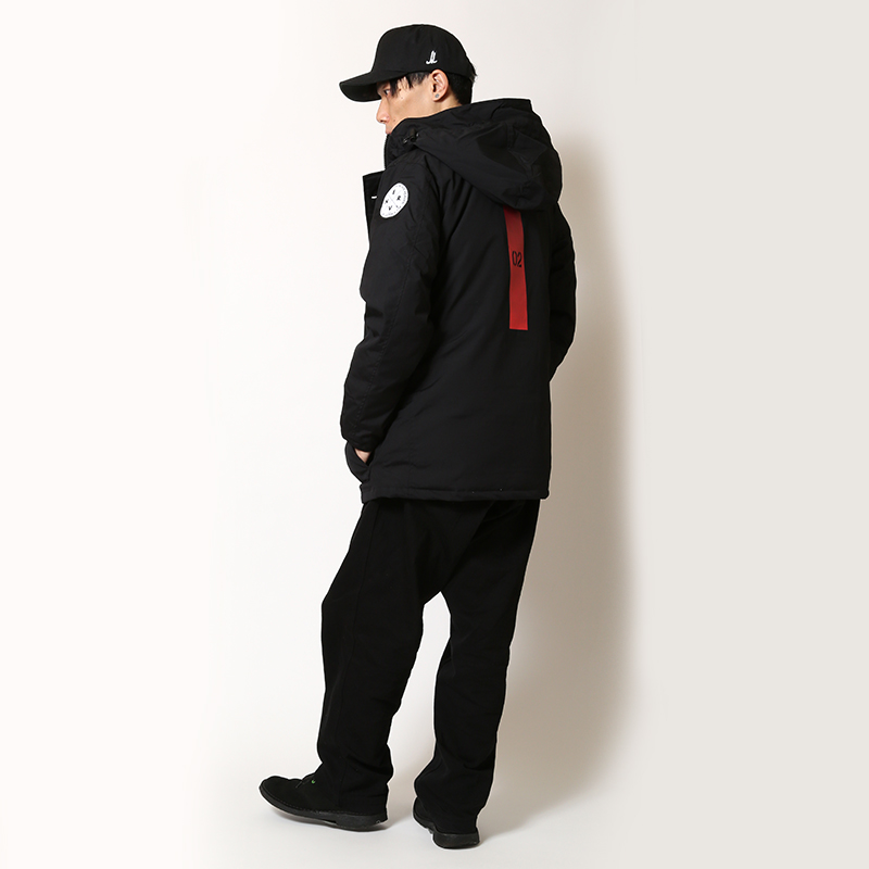 EVANGELION HOODED DOWN JACKET (EVA-02 MODEL(BLACK))
