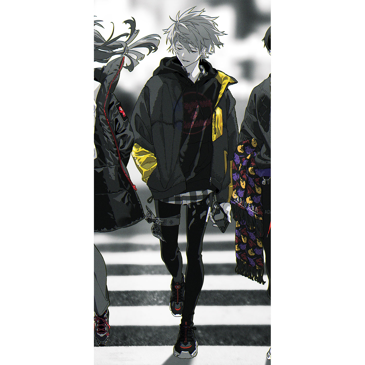 Longinus & Cassius Neon Sign Parka (BLACK× RED)