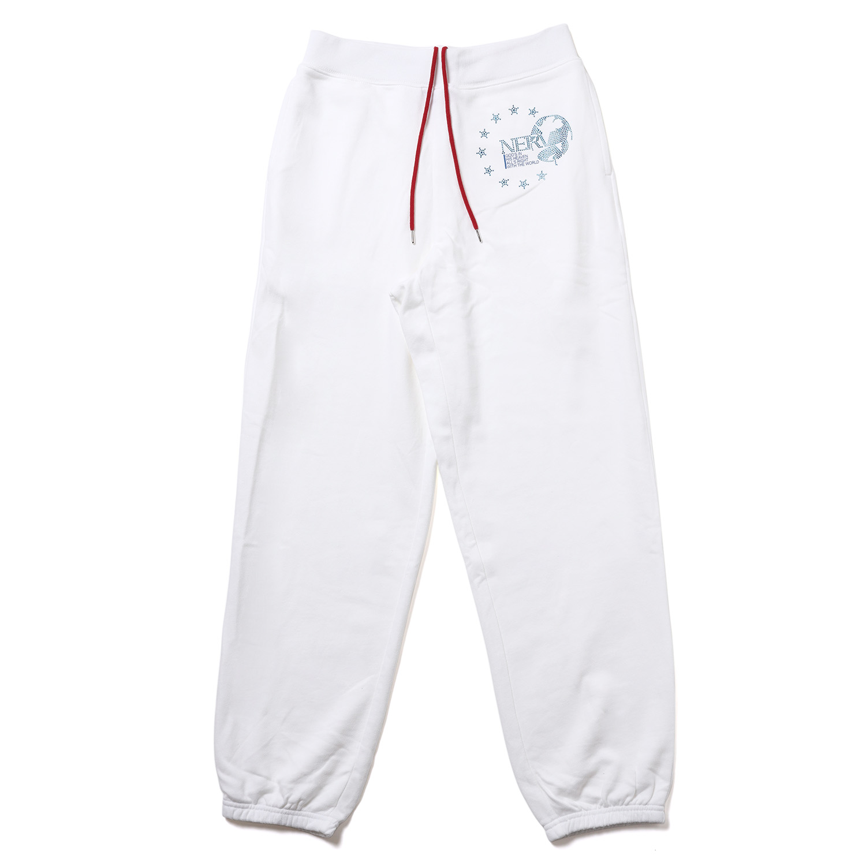 EURO NERV RHINESTONE SWEAT PANTS (WHITE)