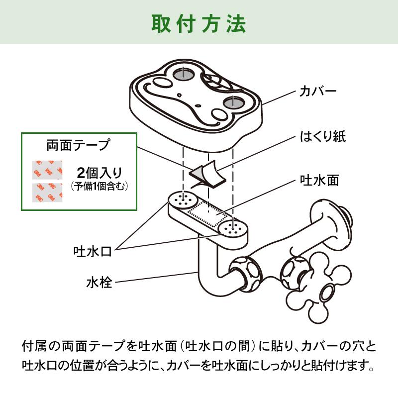 洗眼水栓用カバー ケルン かわいい ( キッズ向け 簡単取付 カエル )