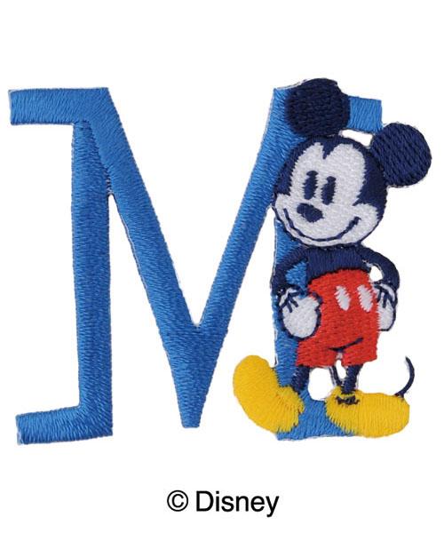MY311 ディスニーキャラクター【ミッキーマウス】イニシャルワッペンM