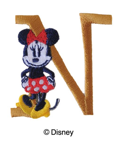 MY312  ディスニーキャラクター【ミニーマウス】イニシャルワッペンN