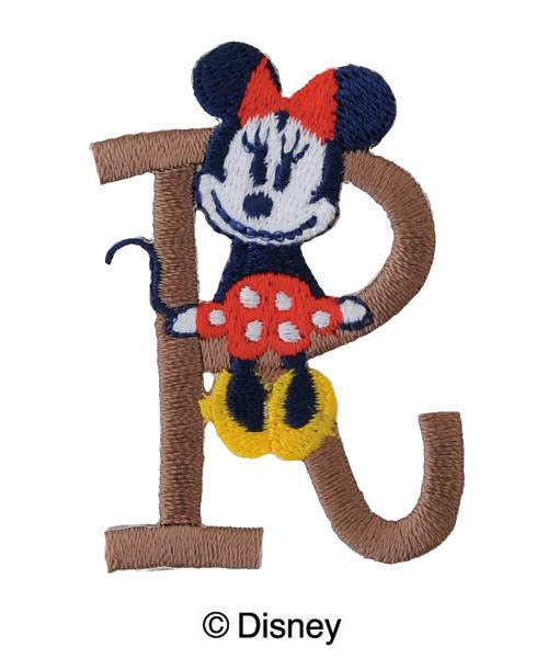 MY314 ディスニーキャラクター【ミニーマウス】イニシャルワッペンR