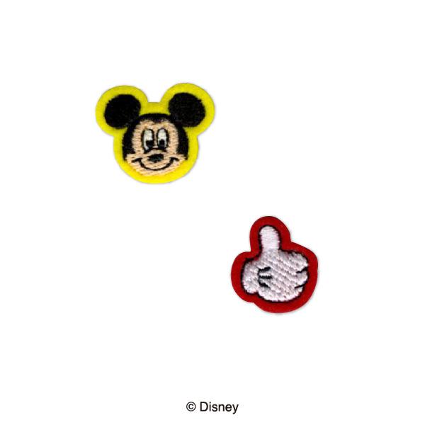 MY482 ディズニーキャラクター ミッキーマウス ワッペン 2個付き アイロン&シール両用タイプ