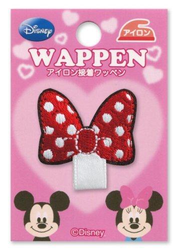 ディズニー ミニーマウス リボン柄 名札付けワッペン 制服・スモックの穴あき防止 リボンがついたワッペン