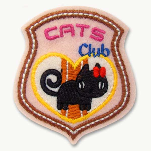 ワッペン(EMBLEM/黒ネコ・猫) アイロン接着OK★かわいいアップリケで入園入学準備