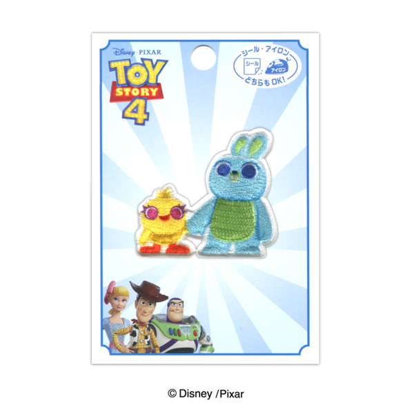 MY457 アイロン・シール両用ワッペン<br>  ディズニー/ピクサー 「トイ・ストーリー4」<ダッキー&バニー>