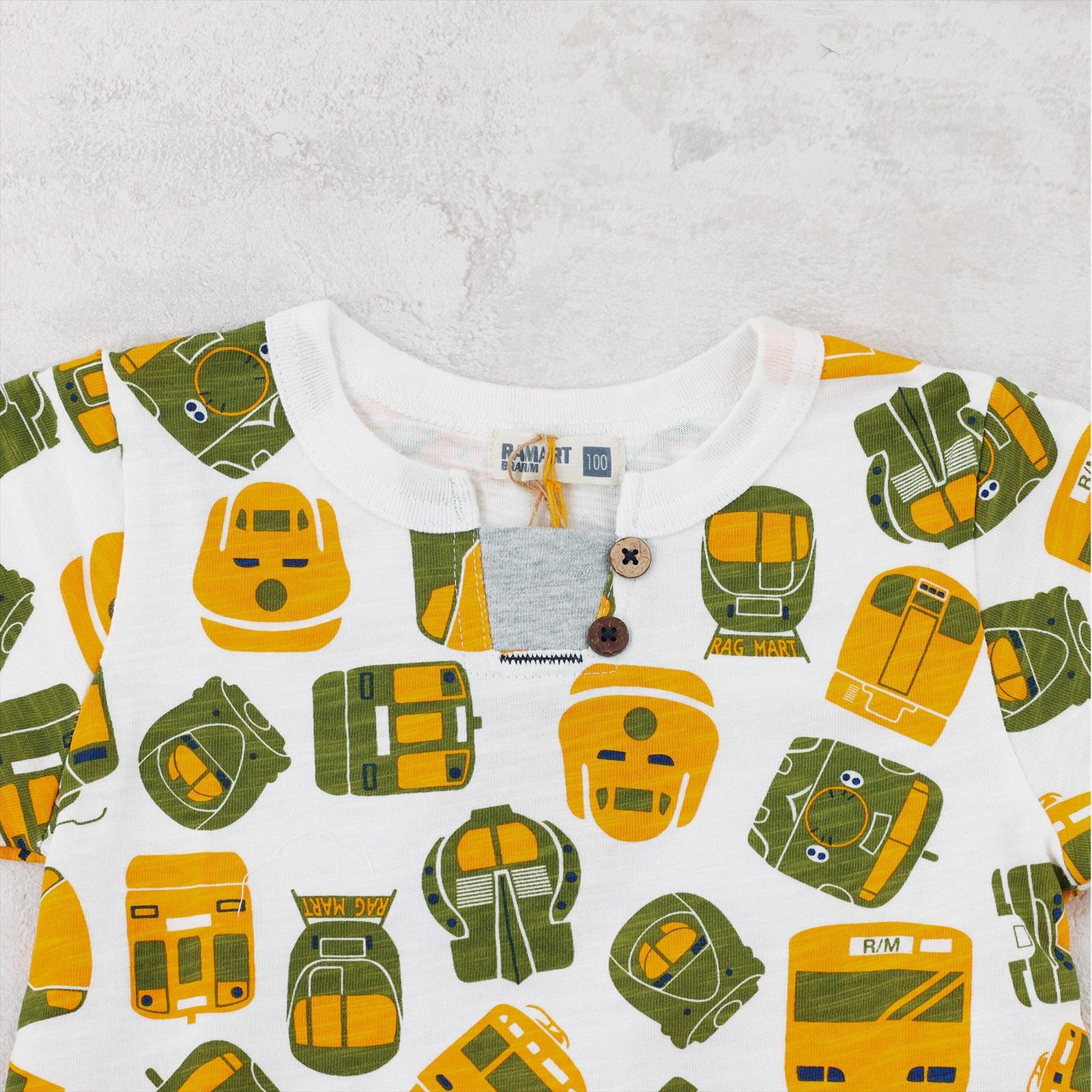 総柄Tシャツ 電車