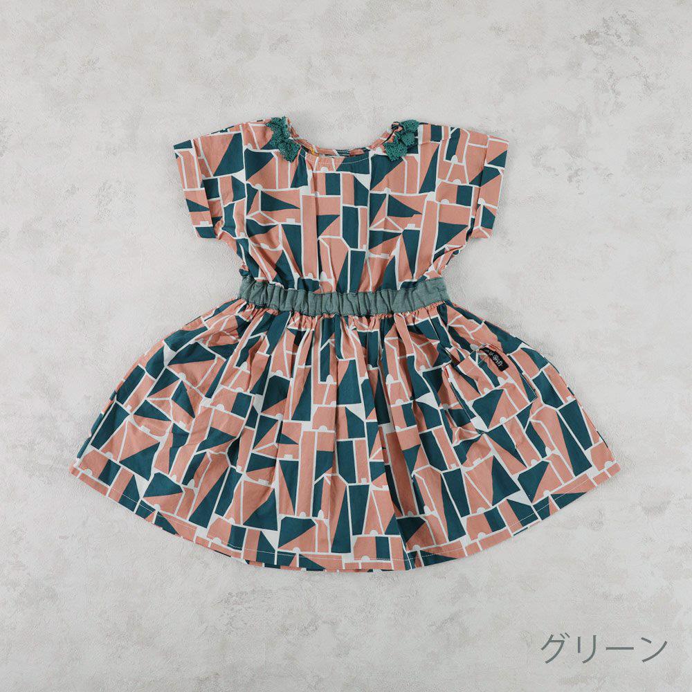 【セール】レース襟ギャザーワンピース ギンガムチェック 幾何柄 花柄