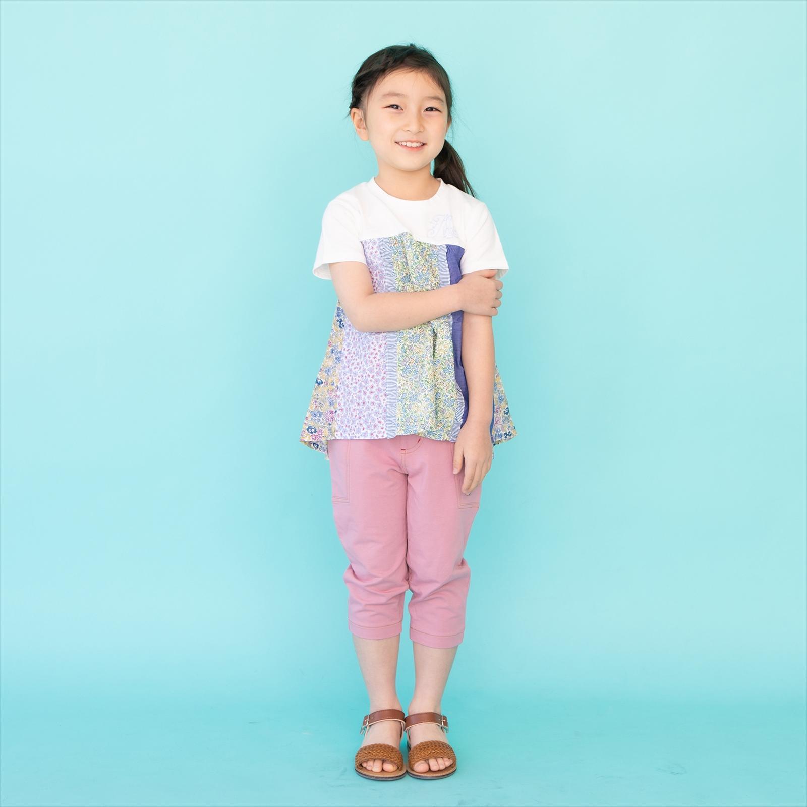 【セール】パッチワークチュニックTシャツ 花柄 ストライプ フリル