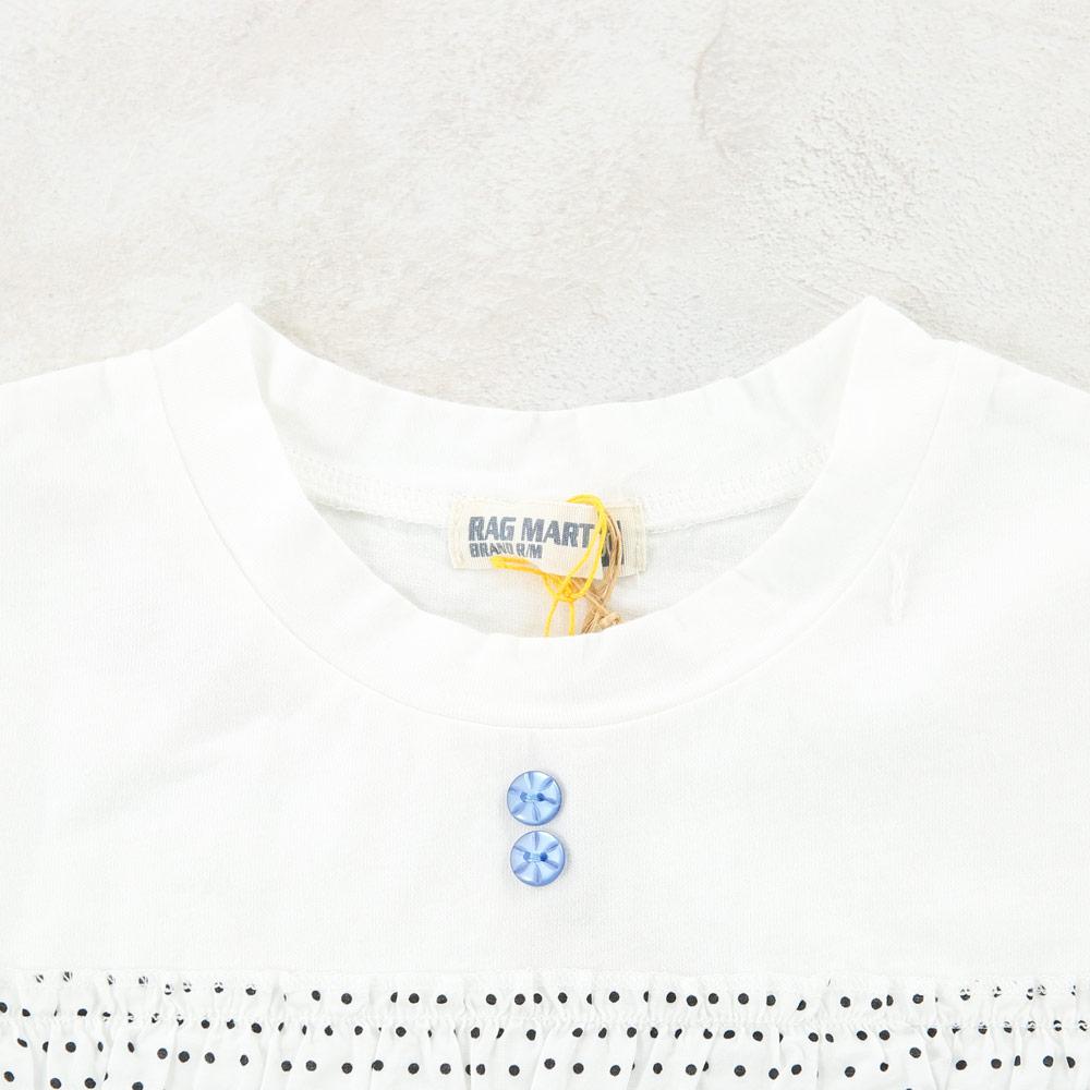 ドットフリルノースリーブTシャツ