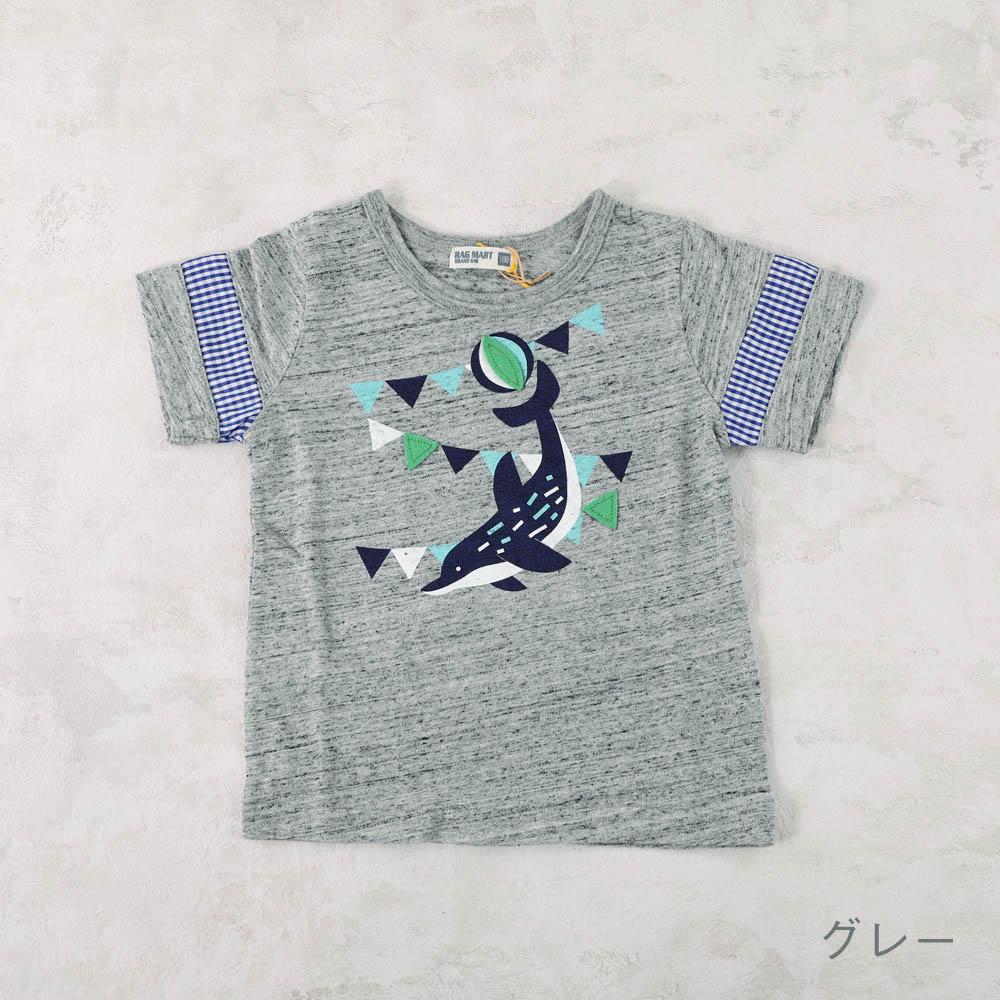 チェック袖切り替えTシャツ カニ イルカ ペンギン
