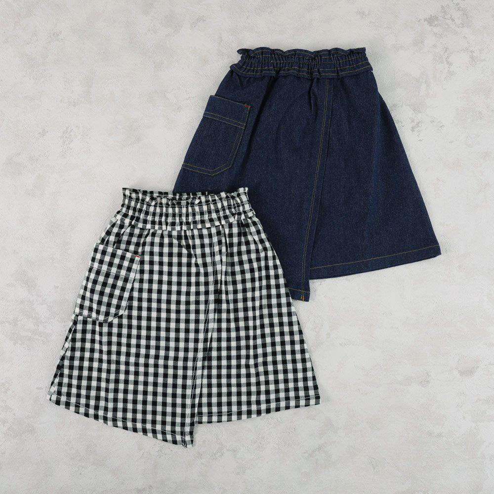 【セール】スカート デニム ギンガムチェック