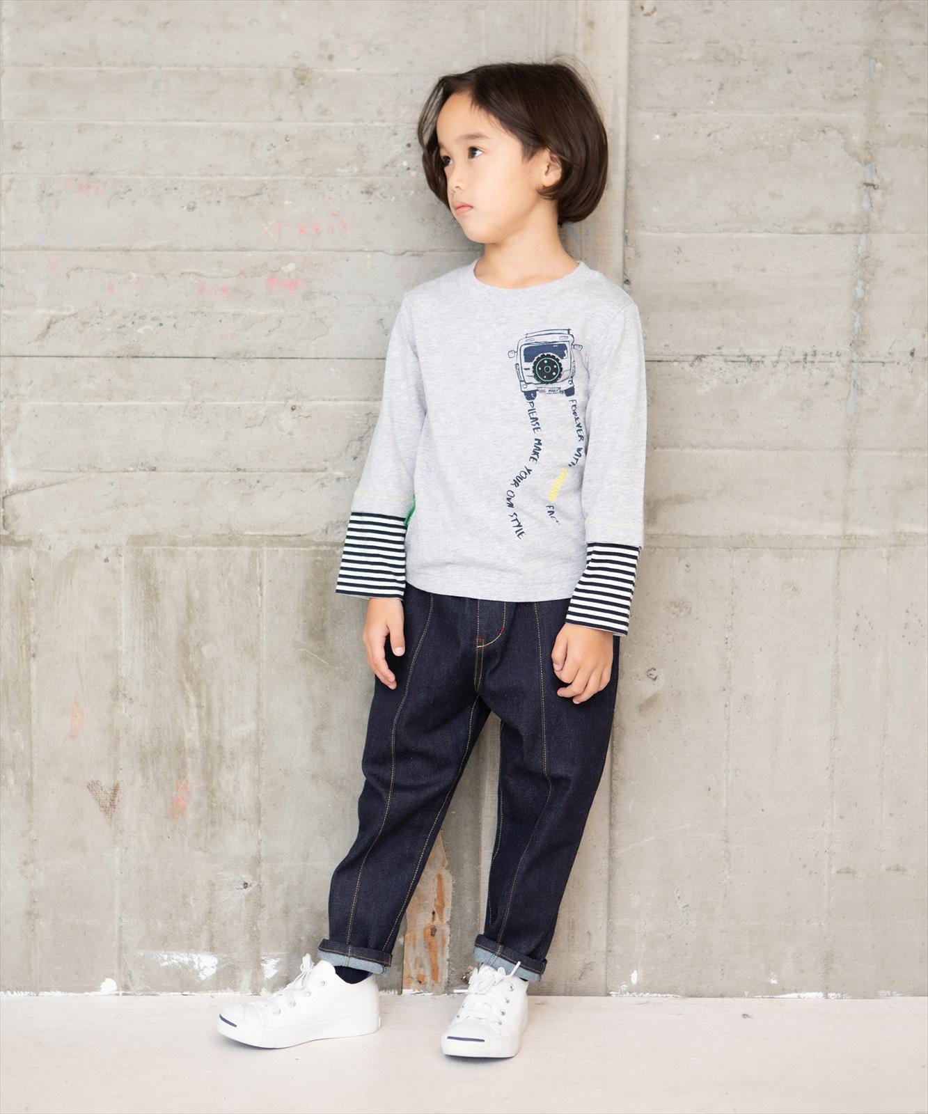 【セール】クルマプリントレイヤード風Tシャツ