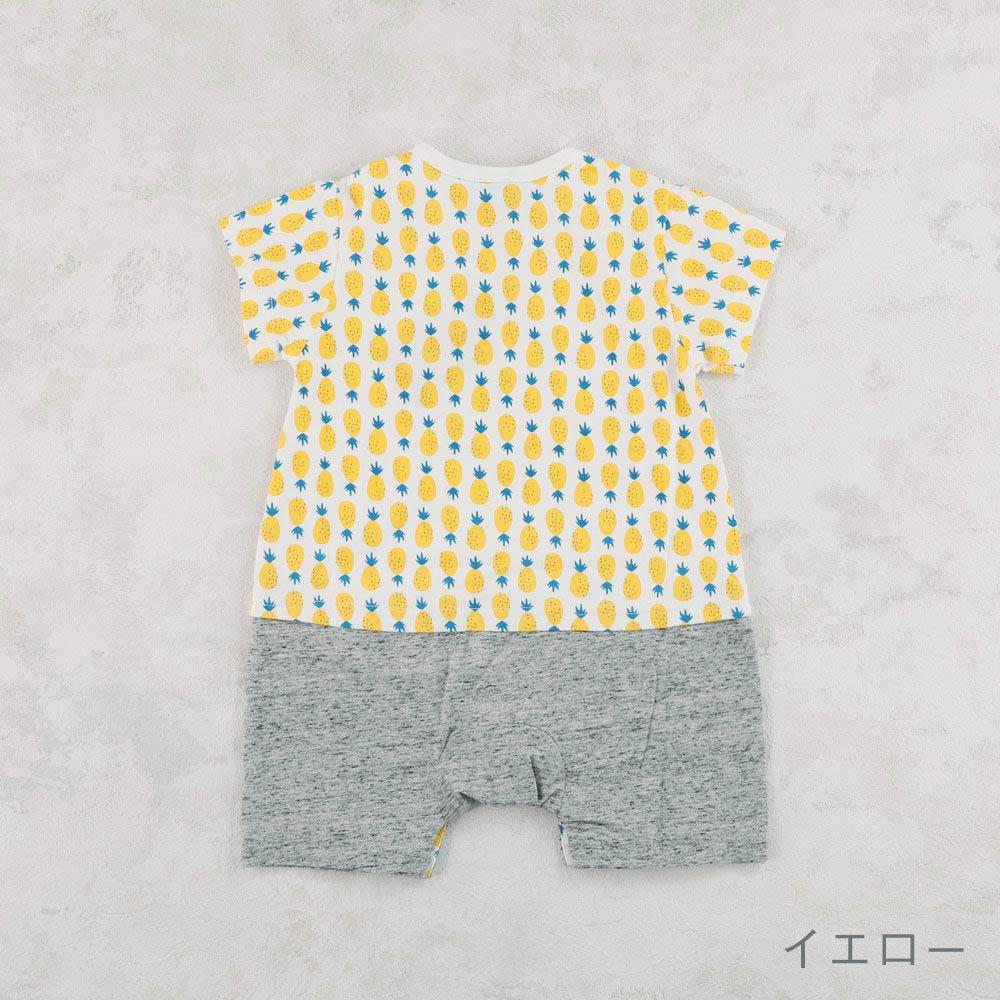 【セール】総柄プリントロンパース ネコ パイナップル 花柄