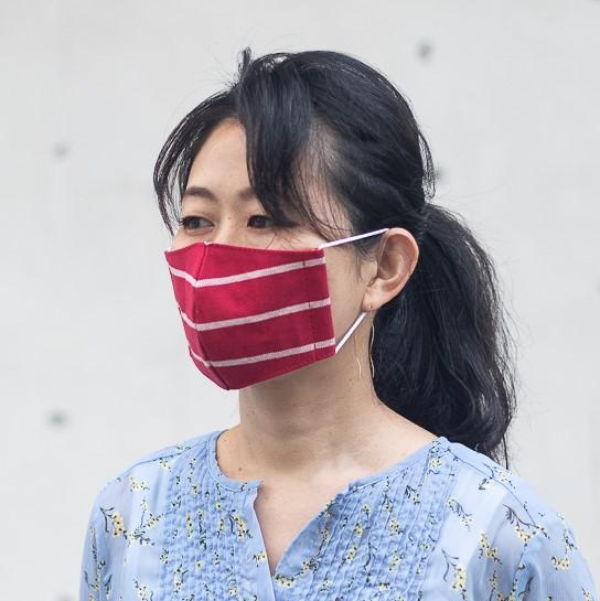 ファッションマスク レッドボーダー