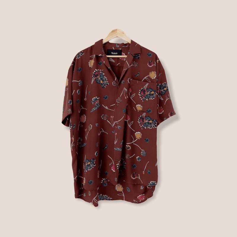 オープンカラー花柄半袖シャツ