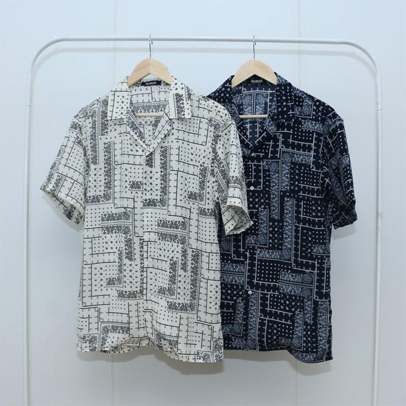 ペイズリーオープンカラーシャツ