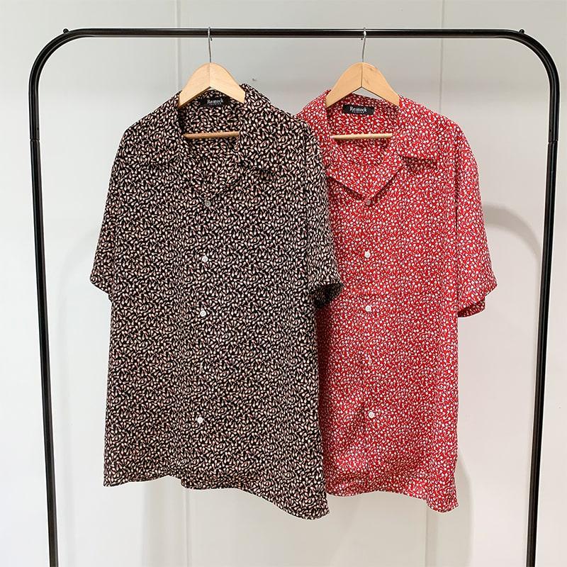 花柄オープンシャツ