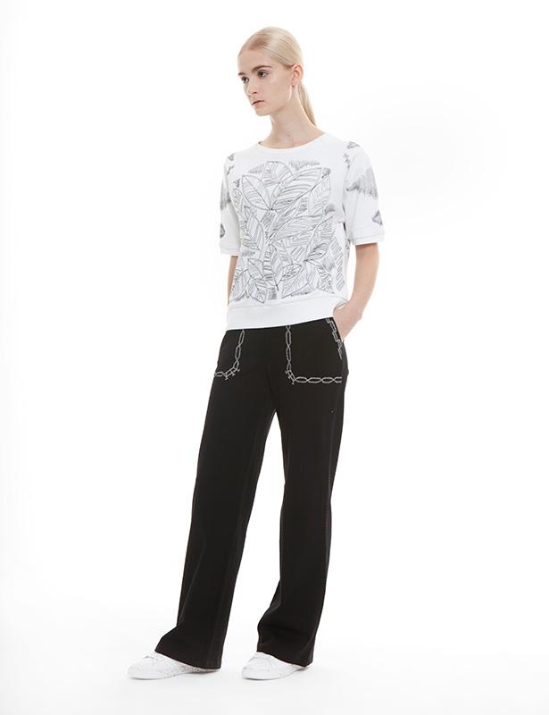リーフ刺繍 裏毛五分袖プルオーバー(ホワイト)