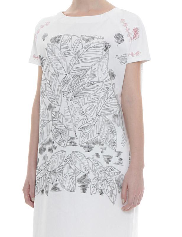リーフ刺繍 裏毛×ツイルワンピース(ホワイト)
