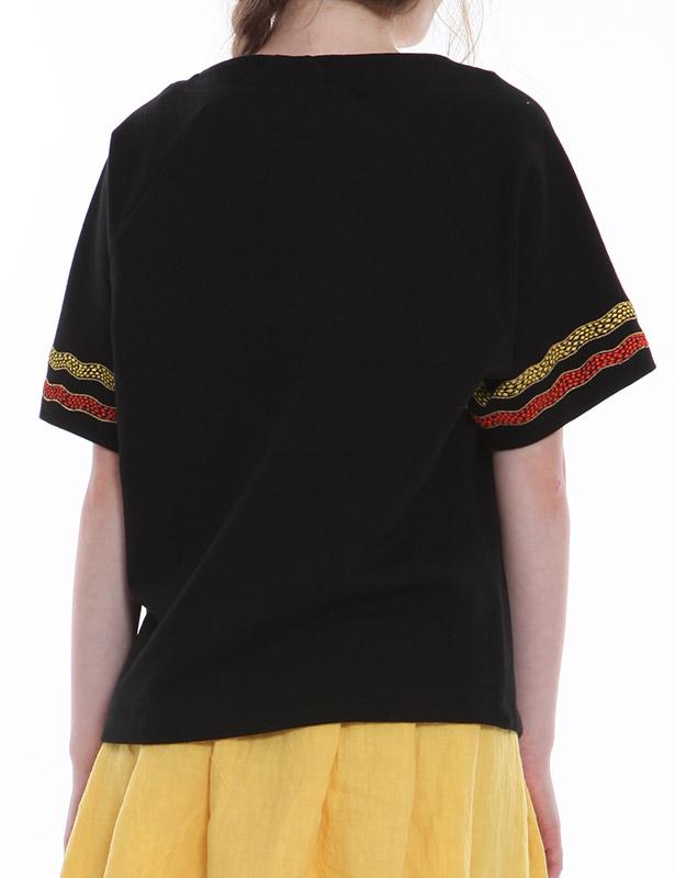 裏毛 クルーネックプルオーバー(ブラック) ウエーブボーダー ハンドドローイング刺繍