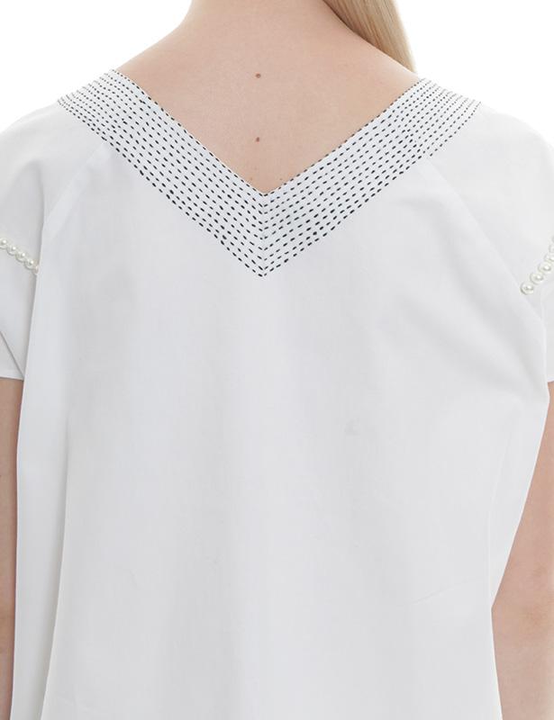 刺し子+パール刺繍 ツイルプルオーバー(ホワイト)
