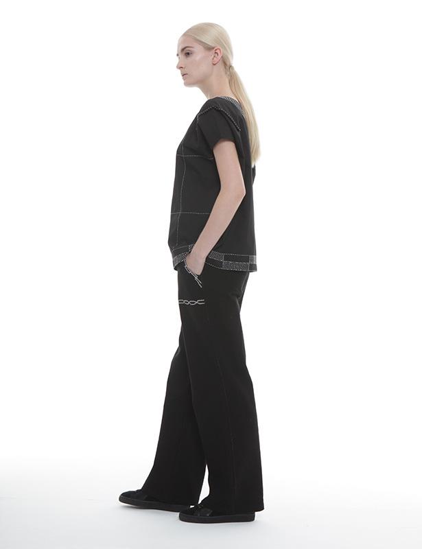 刺し子+パール刺繍 ツイルプルオーバー(ブラック)