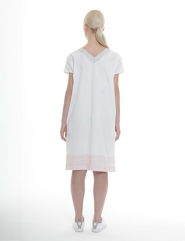 刺し子+パール刺繍 ツイルワンピース(ホワイト)