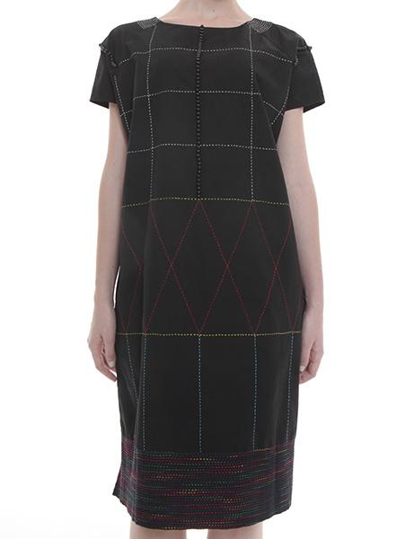 刺し子+パール刺繍 ツイルワンピース(ブラック)