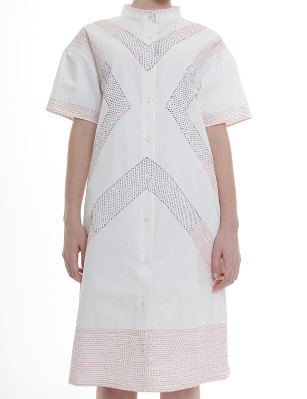 幾何学柄刺し子刺繍 ツイルワンピース(ホワイト)
