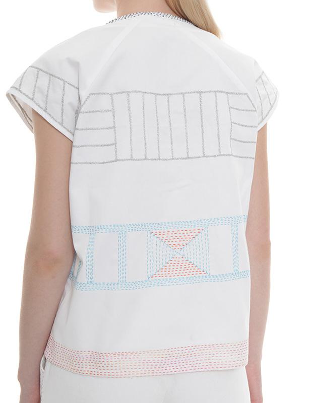 刺し子+メタル刺繍 ツイルブラウス(ホワイト)