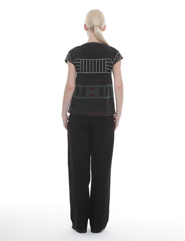 刺し子+メタル刺繍 ツイルブラウス(ブラック)