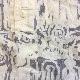 アメリカ古着 七分袖カットソー 半袖シャツ 送料無料 M-L/クリームxグレー 総柄 ヘンリーネック カジュアル アメカジ USA 輸入品 古着御 業販 レディース メンズ ユニセックス