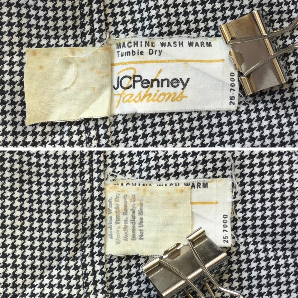 JCPenney ジェーシーペニー ポリパンツワイド 送料無料 W66/白x黒 千鳥柄 スラックス スーツパンツ センタープレス オールド アメカジ 古着卸 アメリカ輸入 業販 レディース メンズ ユニセックス