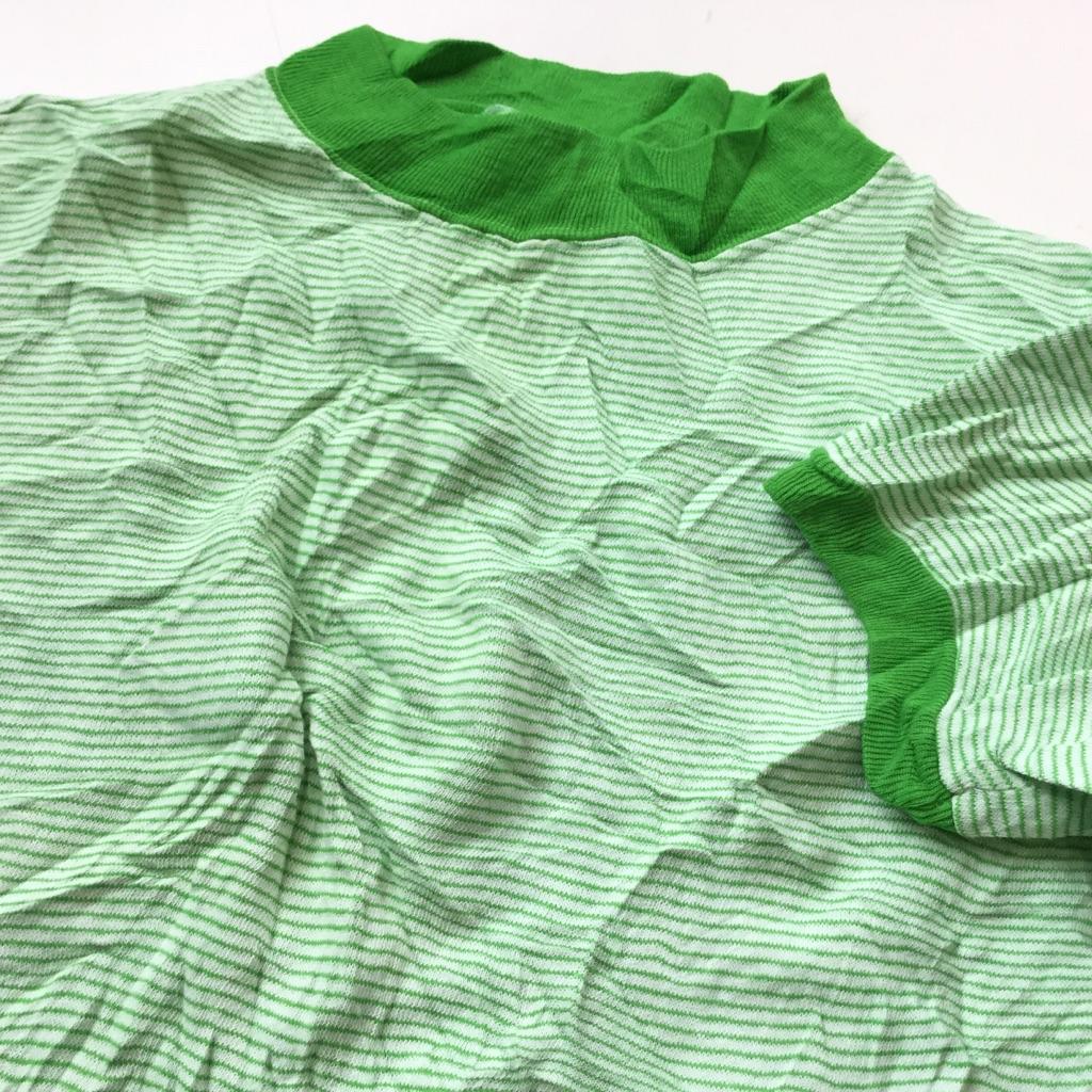 アメリカ古着 ビンテージ 半袖スウェット ボーダートレーナー 送料無料 メンズ S-M/白x黄緑 細ボーダー ストライプ セットイン モックネック ハイネック USA アメカジ ヴィンテージ スエット 古着卸 業販