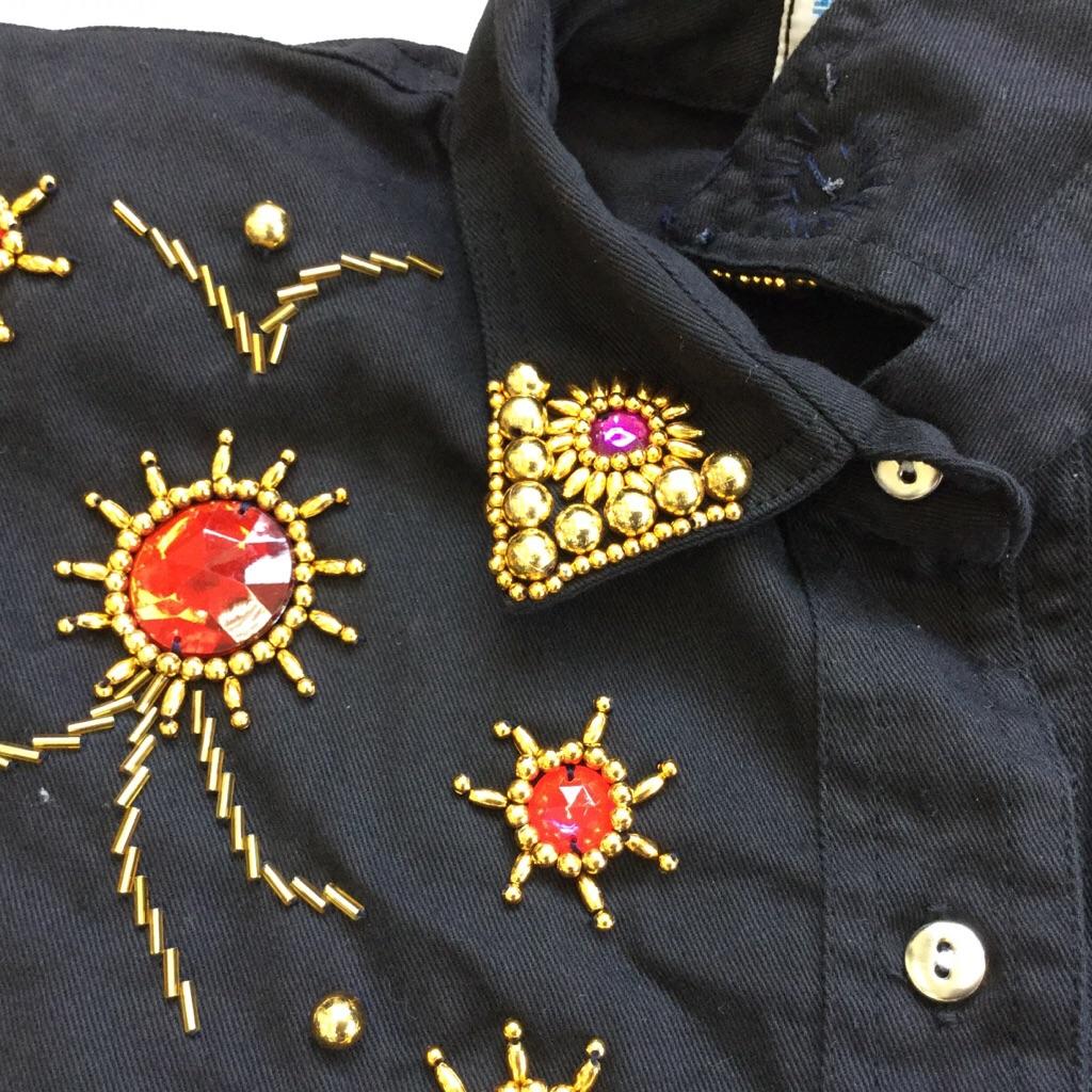 tarado 国内古着 半袖ブラウス ビーズシャツ 送料無料 レディース L-XL/黒・ブラック ゴージャス カジュアル ゴールド デコレーション 古着御 業販 大きい ビッグ オーバー