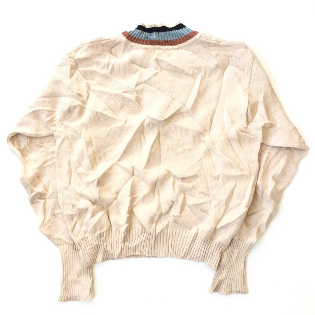 McGREGOR マクレガー 国内古着 Vネックニットセーター チルデンセーター 送料無料 メンズ L/ベージュ系 スクールセーター 日本製 ブランド 定番 トラッド モード カジュアル 古着卸 業販