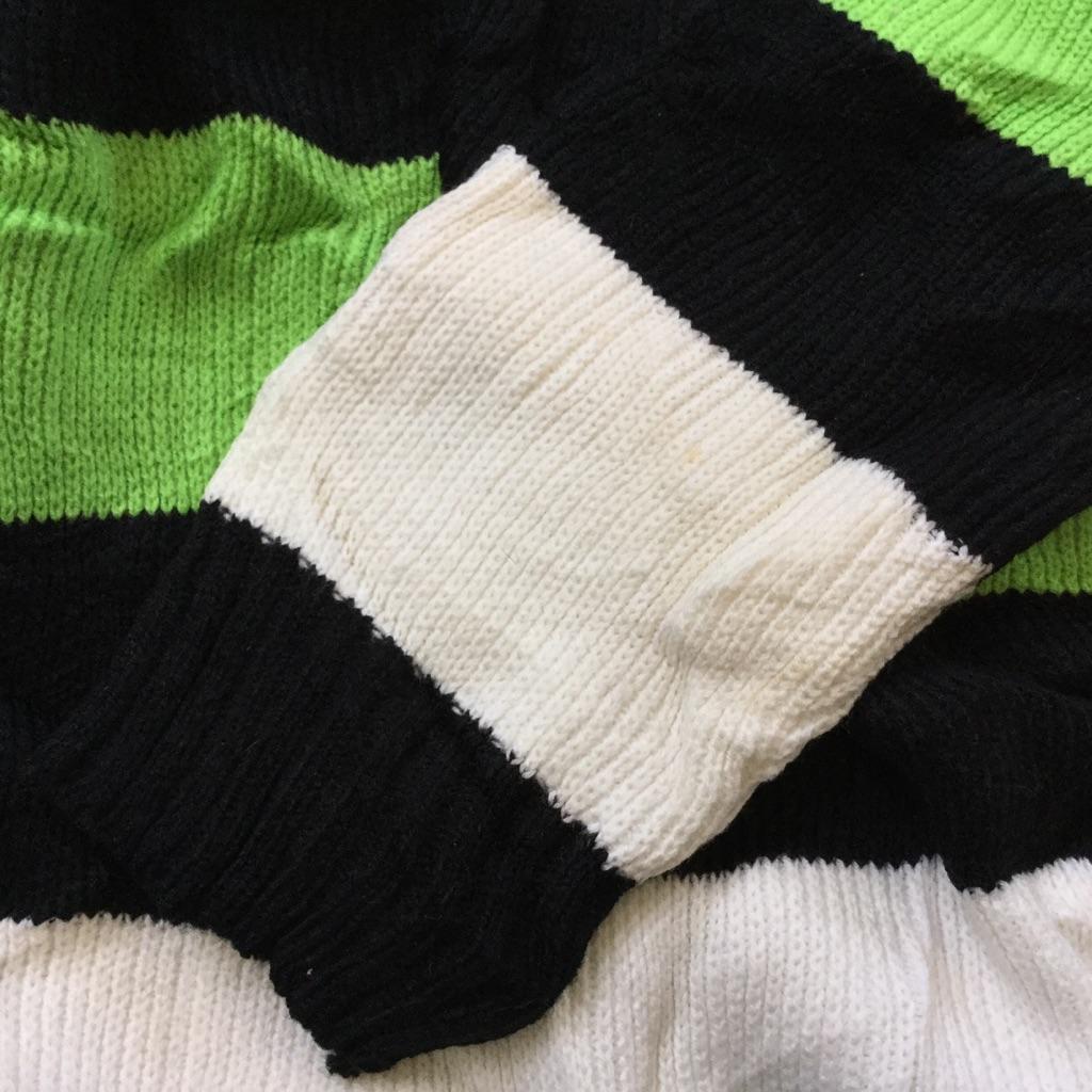 ARCTICWEAR ボーダーニット アメリカ直輸入 襟付きセーター 送料無料 メンズ M-L/蛍光緑x白x黒 スポーツ アウトドア トラッド アメカジ カジュアル アクリルニット ストライプ 古着卸 業販