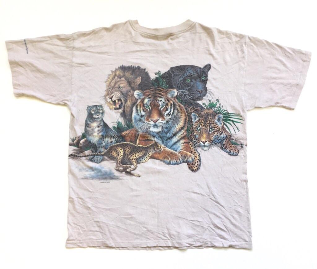 HABITAT アニマルプリント 動物 アメリカ直輸入 半袖Tシャツ 送料無料 メンズ XL/ベージュ系 St. Louis Science Center ライオン とら ヒョウ USA 古着卸 業販 シングルステッチ