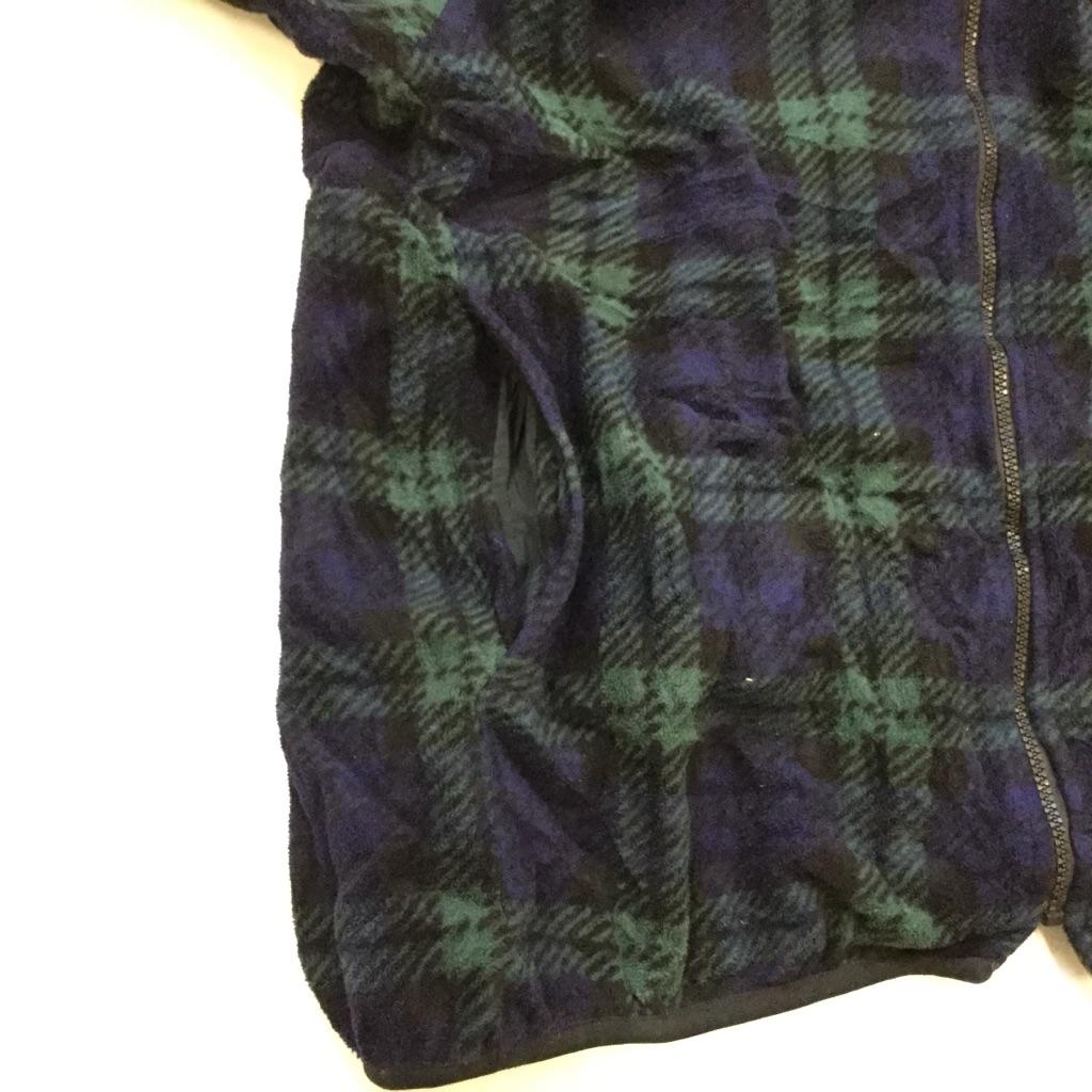 LONDON FOG ロンドンフォグ アメリカ直輸入 フリースジャケット 送料無料 メンズ S/紺x緑・チェック柄 ジップアップジャケット フルジップ 古着卸 業販