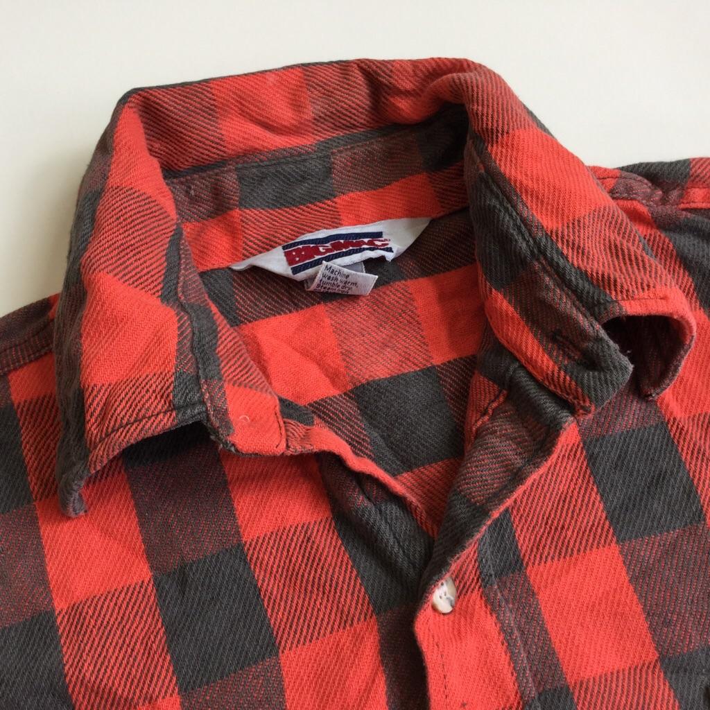 BIG MAC ビッグマック JCペニー ヘビーネルシャツ オールド チェックシャツ 半袖リメイク 送料無料 L/赤x黒・ ブロックチェック アメリカ輸入 MADE IN USA アメカジ ブランド ワークシャツ フランネルシャツ 古着卸