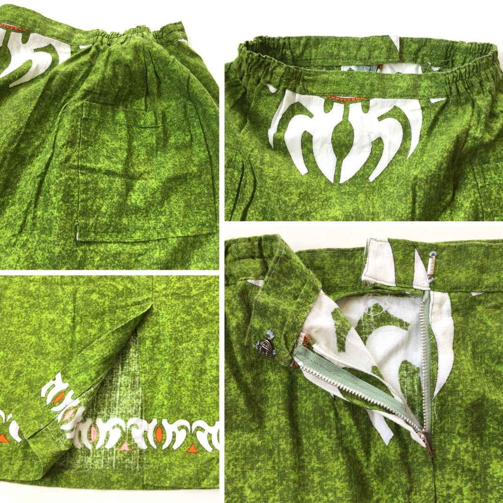 アメリカ古着 ハンドメイド スカート ハワイアン柄 送料無料 レディース W62(一部ゴム)/グリーン・緑 USA アメリカ直輸入 古着卸 業販 アロハ柄