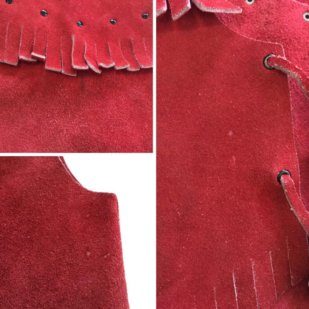 アメリカ古着 レザーベスト キッズ 赤 スエード ウエスタン カウボーイ カントリー カジュアル フリンジ USA 輸入品 送料無料