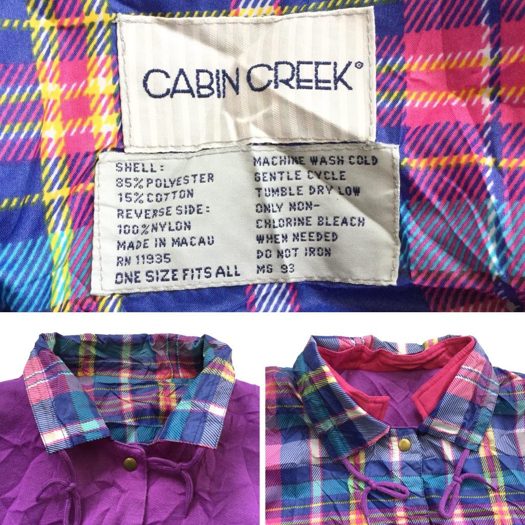 CABIN CREEK アメリカ古着 リバーシブルジャケット ウインドブレーカー スナップカーディガン 送料無料 レディース フリー/ピンクxブルー・チェック柄とピンクxパープル ナイロンxスウェット ジャンパー カジュアル アメカジ 輸入品 USA 古着卸 業販 アノラック
