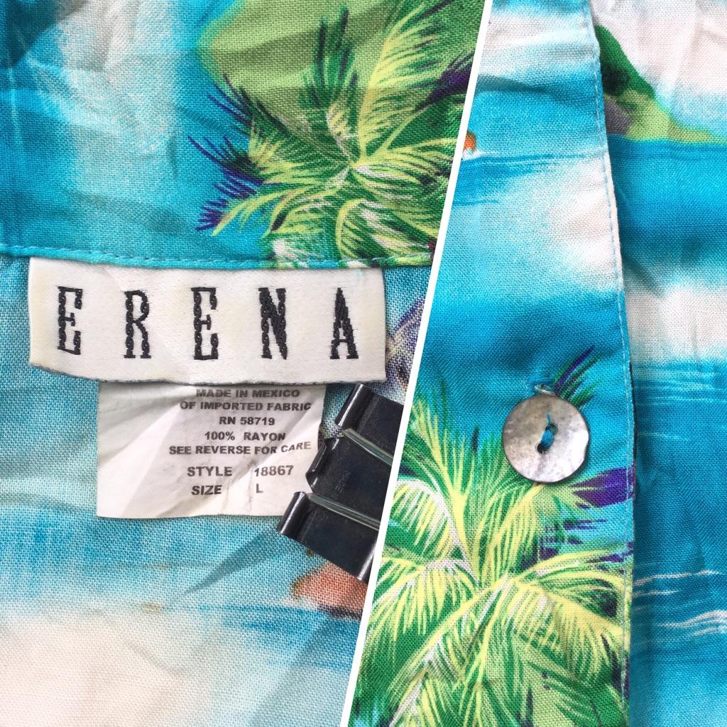 ERENA アメリカ古着 ハワイアン HAWAII 半袖ブラウス 送料無料 レディース L/多色 アロハシャツ レーヨンシャツ 貝ボタン リゾート ビーチ 南国 古着卸 業販