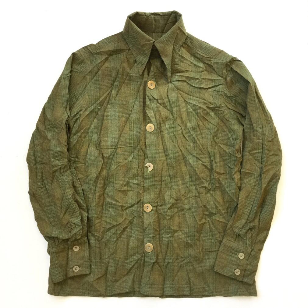 アメリカ古着 長袖シャツ 古シャツ 送料無料 チェックシャツ メンズ M-L/深緑系xチェック柄  オールドシャツ 古着御 業販 ハンドメイド 手作り
