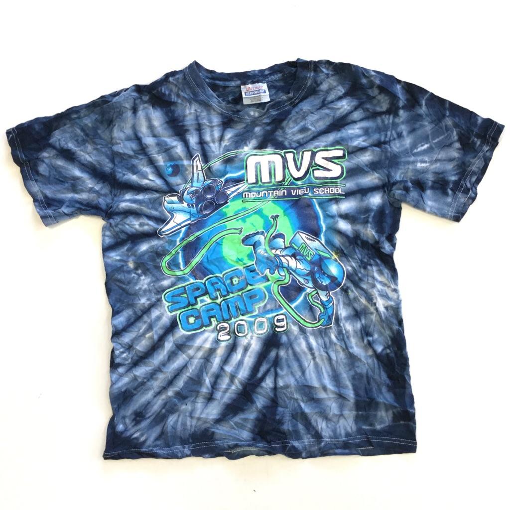 アメリカ古着 SPACE CAMP スペースキャンプ 半袖Tシャツ 送料無料 S/タイダイx紺系 MVS スペースシャトル 宇宙飛行士 レディース USA 古着卸 輸入品