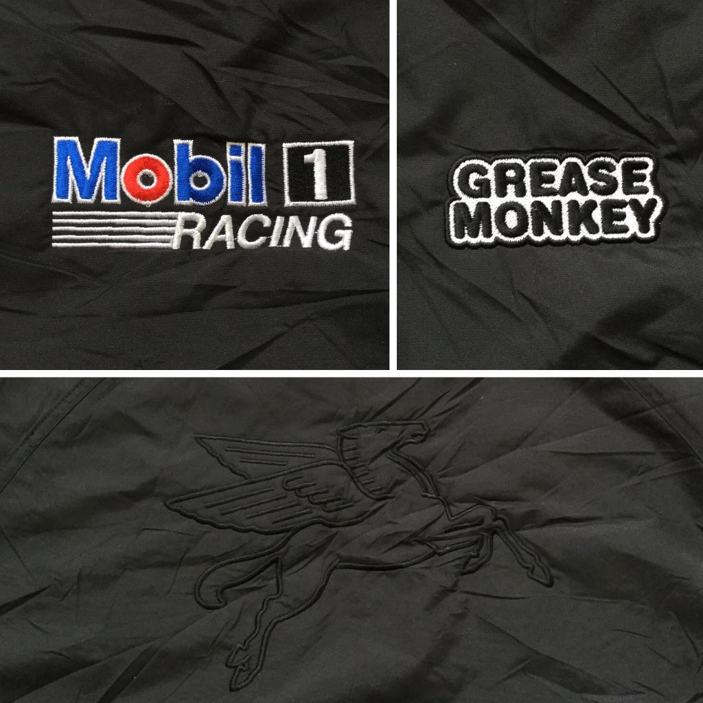 Mobil1 RACING モービル1レーシング GREASE MONKEY ナイロンジャケット アメリカ直輸入 メンズ M/黒・ブラック 送料無料 車 企業 ガス ジッパージャンパー フリースライナー USA アメカジ 古着卸 業販